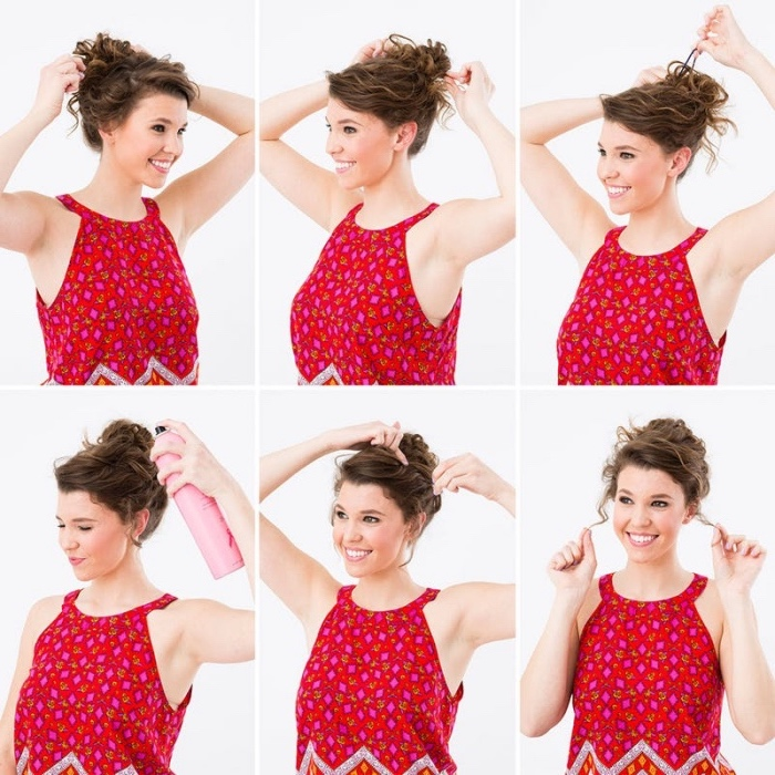 tuto chignon flou simple et rapide, idée de coiffure femme, cheveux bouclés ramenés en haut de la tête, mèches libres