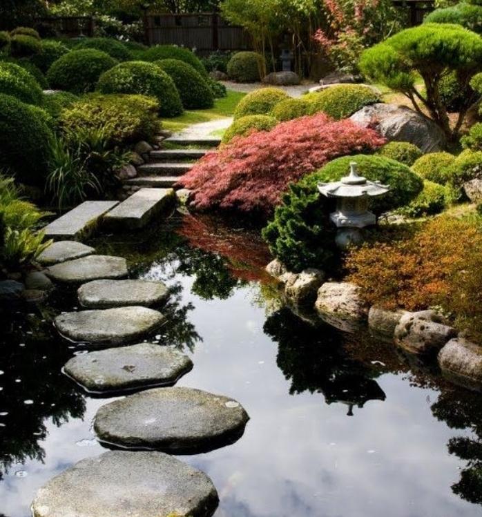 déco de jardin zen dans un jardin énorme, petit lac entouré de pierre, chemin de pierres, lanterne, arbustes, arbres, buis