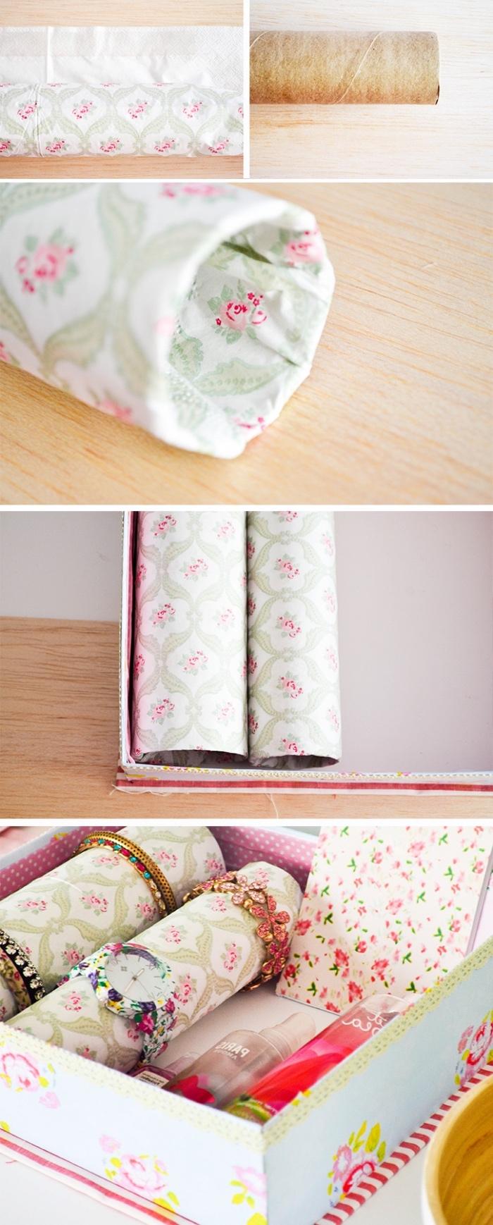 idée de diy rangement en rouleaux de papier essui tout, décorés de papier coloré, dans une boite vintage, idée organisation bijoux, bracelets