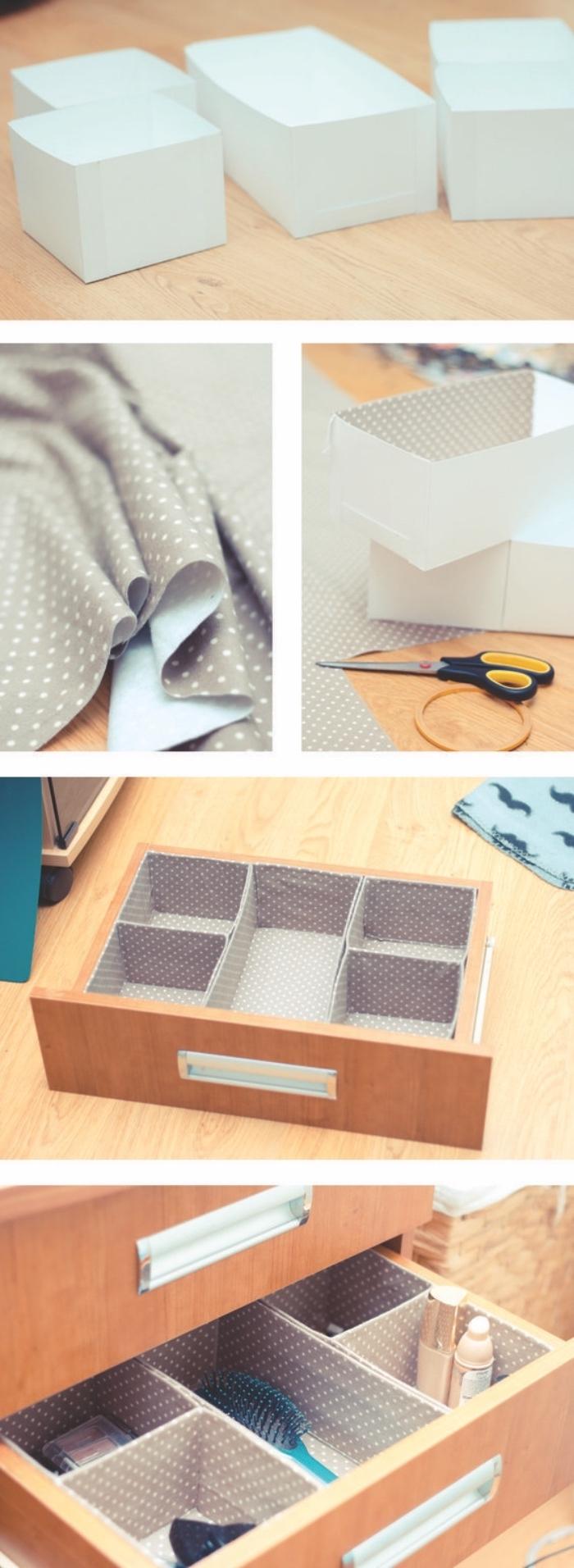 diy rangement boite a différents compartiments en papier cartonné, décorés en tissu dans un tiroir