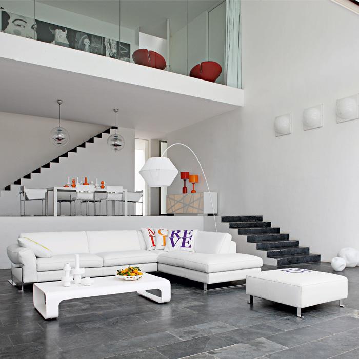 décoration loft moderne avec salon luxe blanc design sobre