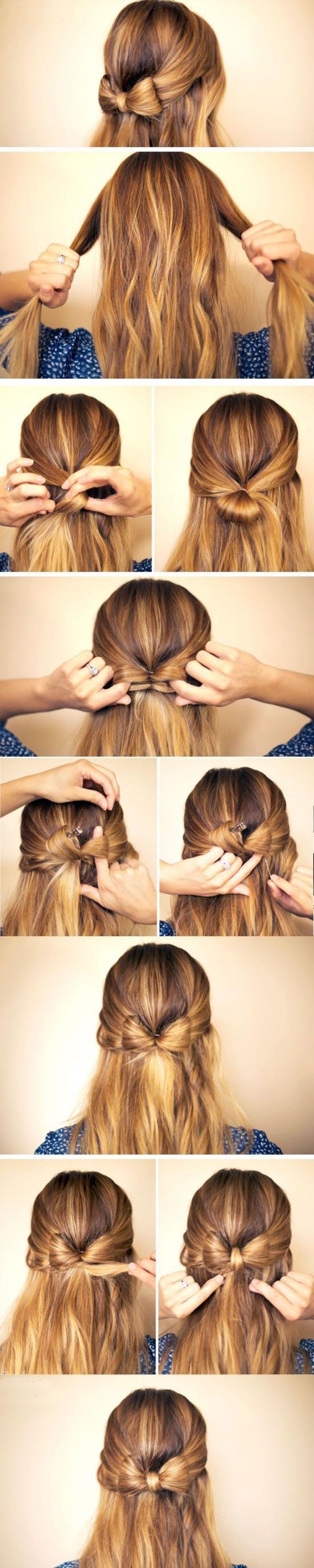 idée de coiffure facile a faire, mèches de devant entrelacées dans un noeud de papillon simple, cheveux lâchés