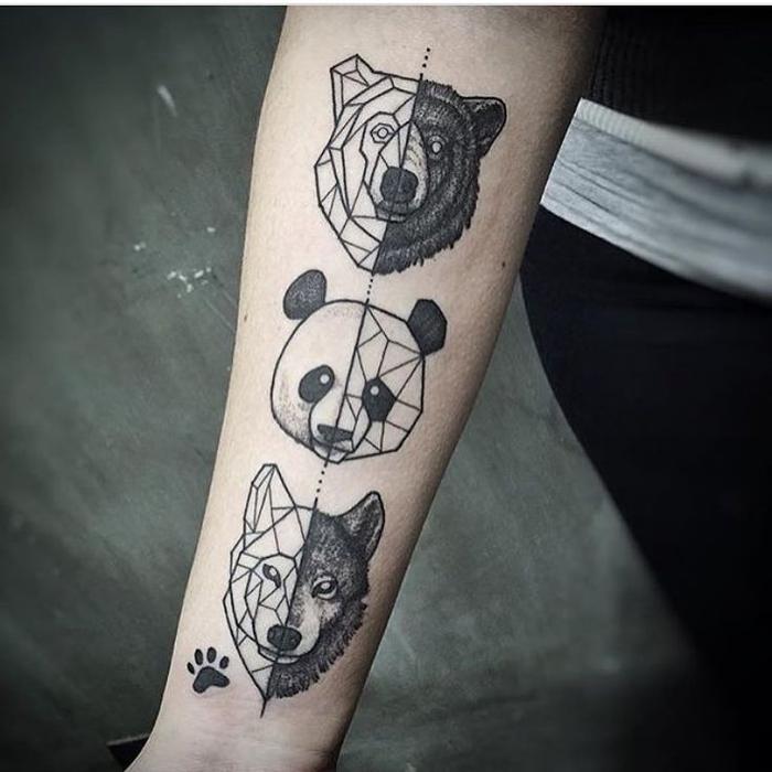 un tatouage avant bras animalier composé de têtes de loup, panda et loup géométriques