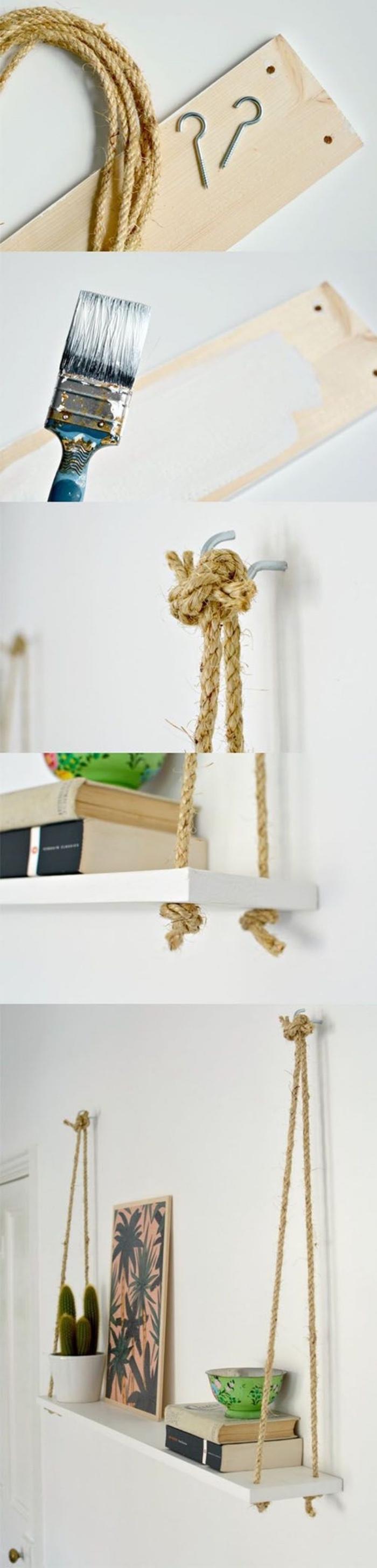 tutoriel pour faire une etagere suspendue soi meme, corde, planche et accroches pour les murs, bricolage facile pour diy rangement astucieux