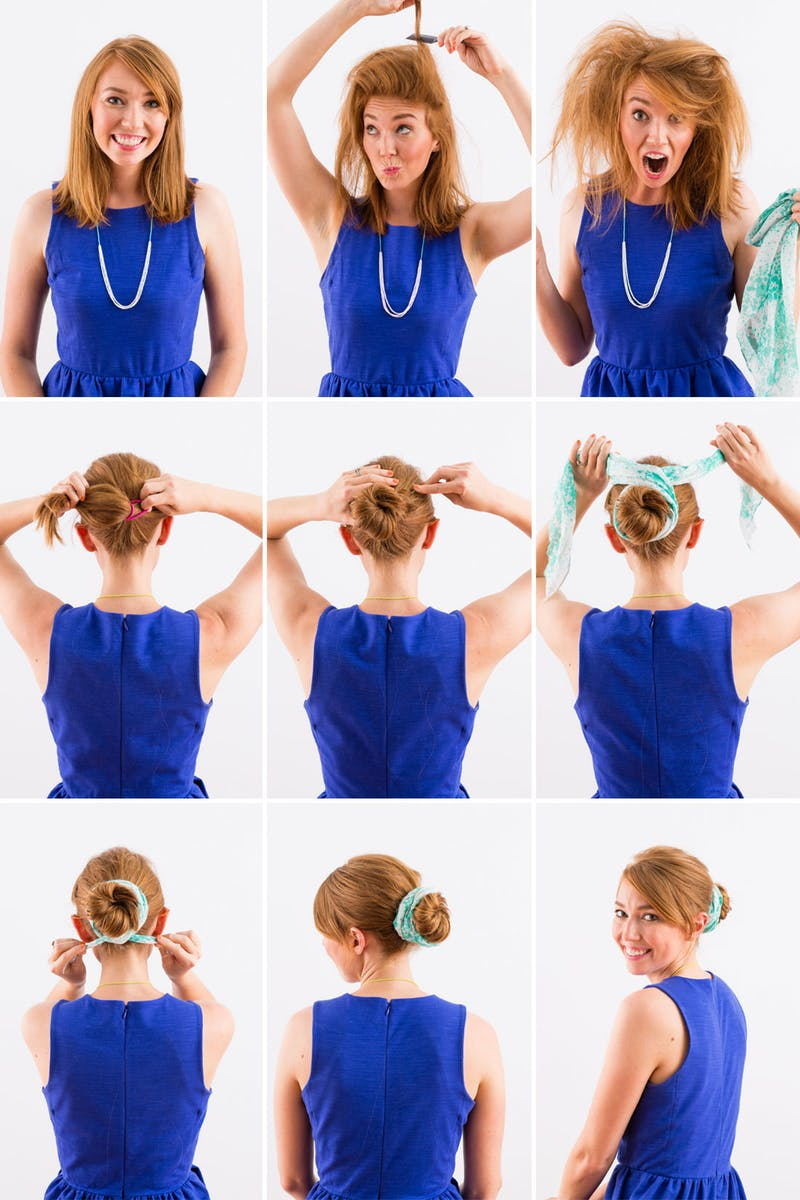 tuto chignon facile, coiffure femme sur des cheveux mi long, idée de coiffure chignon avec un foulard bleu et blanc