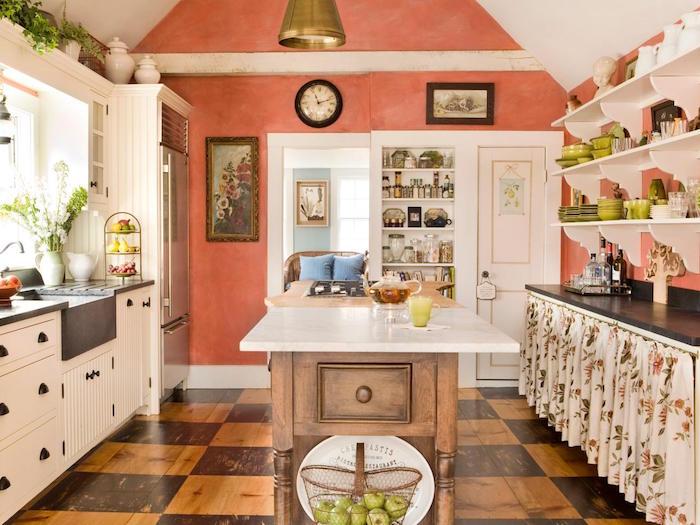 cuisine vintage style décoration provençale couleur corail