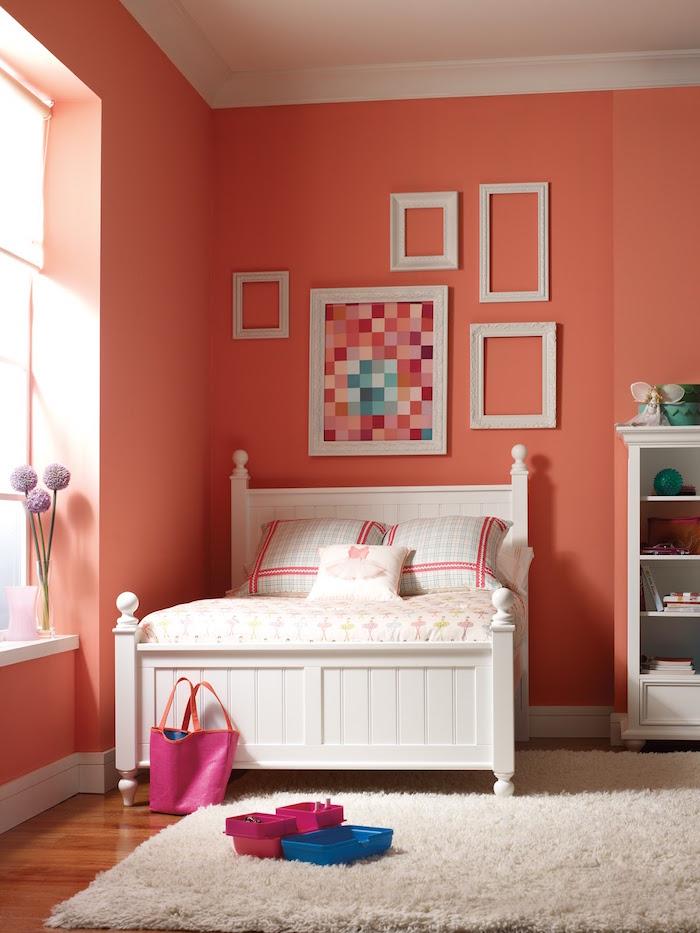 corail couleur rose saumon pour murs chambre enfant fille