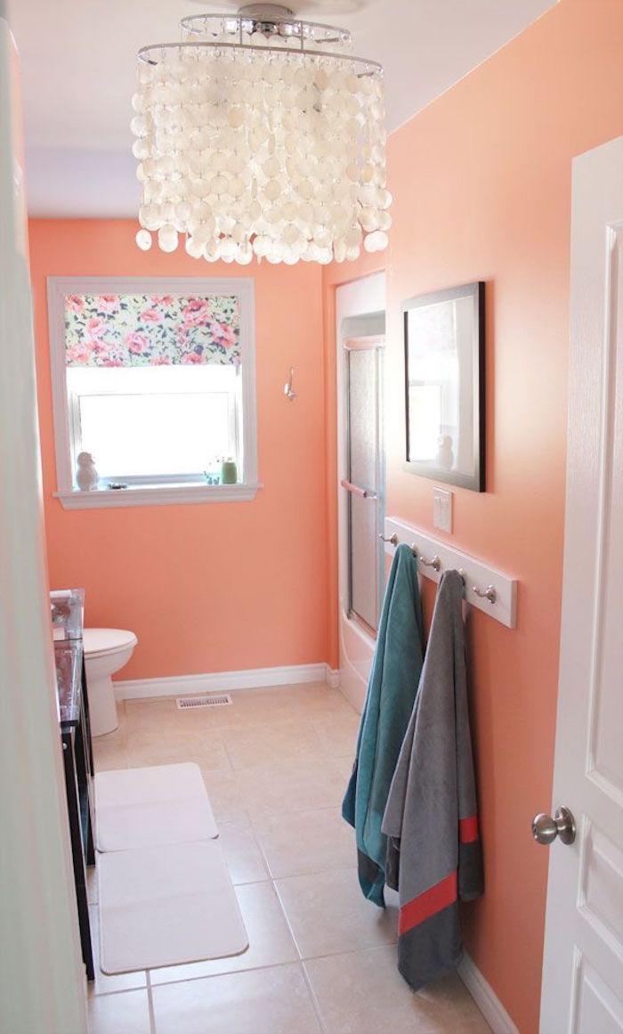 peinture salle de bain couleur abricot corail