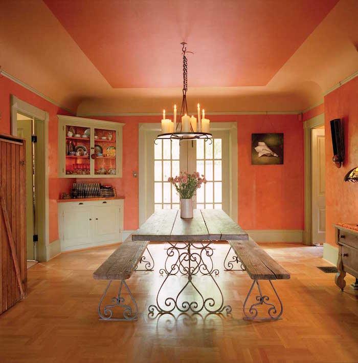 corail couleur abricot rose pour cuisine style provencal vintage