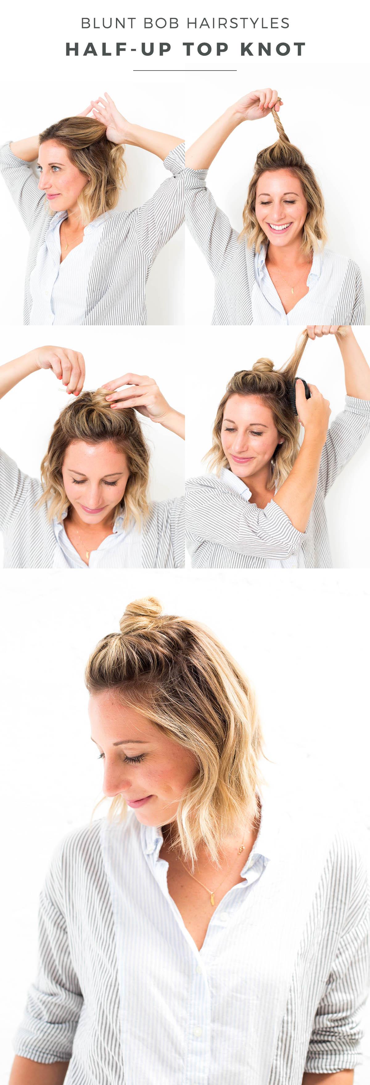 tuto chignon, modèle de demi chignon haut avec du volume sur le dessus, coiffure cheveux mi-long, carré plongeant court