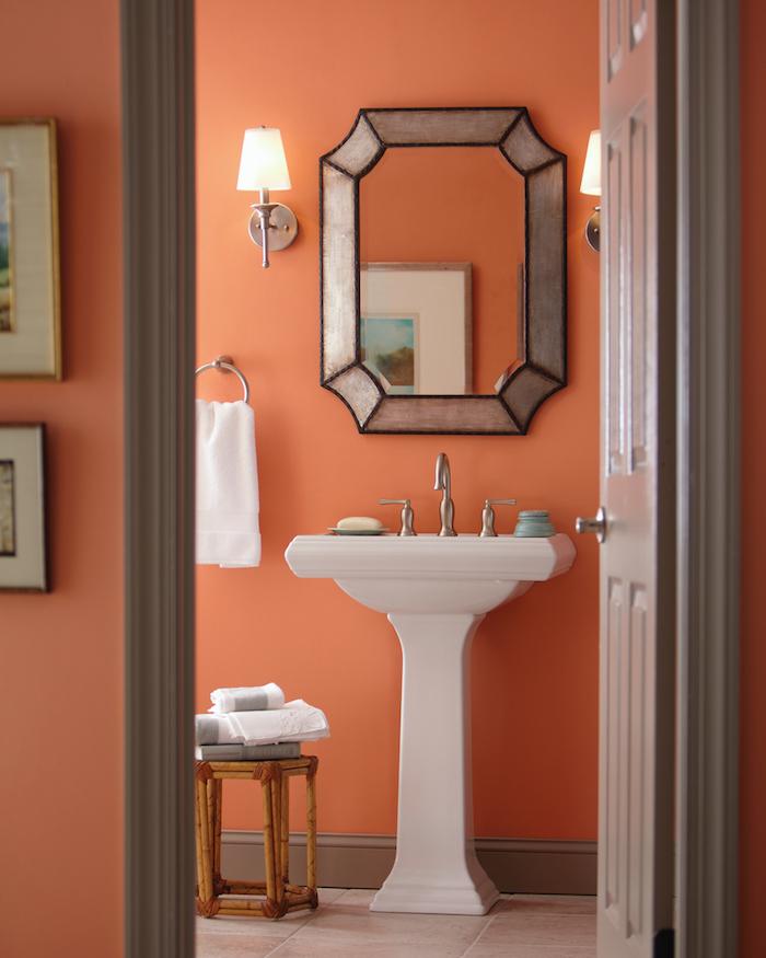 idée couleur peinture salle de bain vive chaleur orange corail saumon