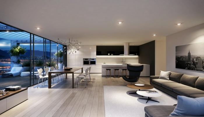 idee de deco salon, sol en bois clair, table longue en bois, fenêtres modernes, petite cuisine blanche-table-de-déjeuner