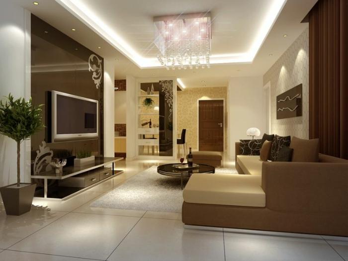 idee de deco salon, grand sofa beige, table ronde, écran plat monté au mur, plafonnier rectangulaire