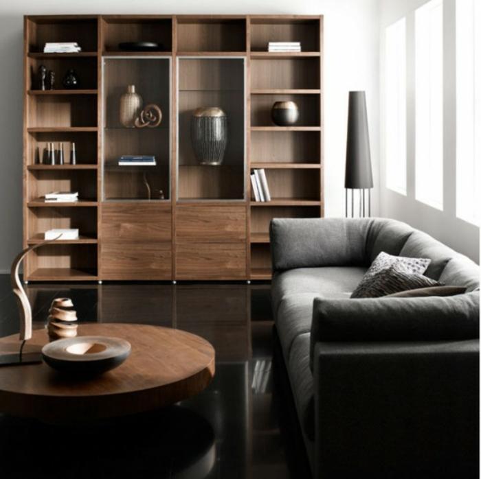 idee de deco salon, buffet et table de salon style japonais, canapé gris et sol noir