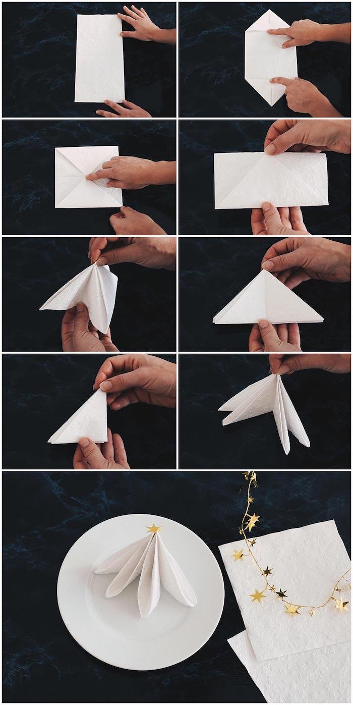 étapes à suivre pour faire une déco de table de Noel, sapin en serviette de papier blanche avec étoile dorée