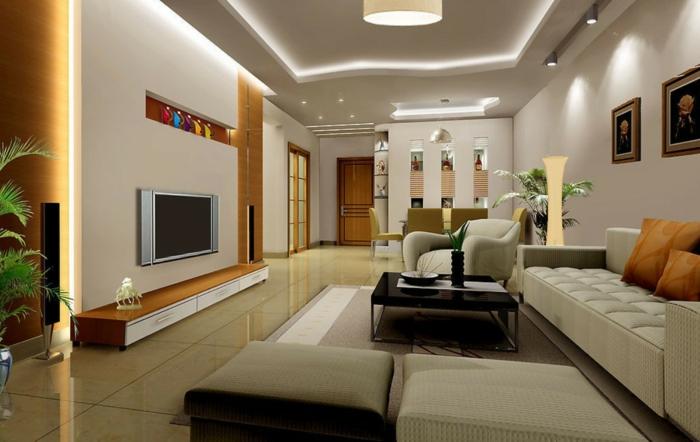 idee decoration salon, table basse, carrelage beige élégant, plafond lumineux