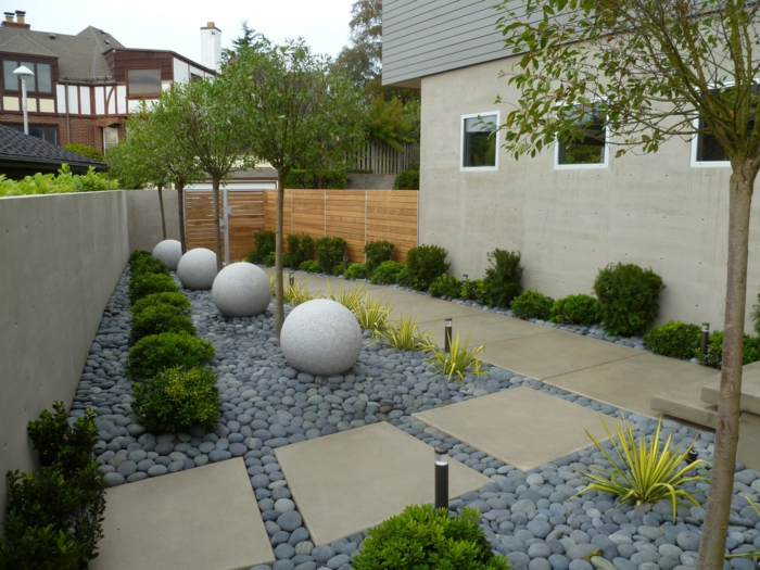 déco de jardin zen, carré japonais, recouvert de pierres et de galets et de dalles en pierre, arbustes et arbres verts, maison contemporaine