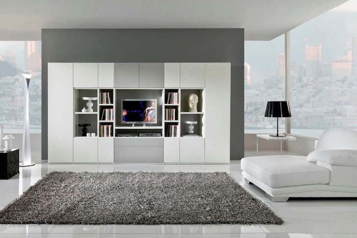 deco salon contemporain style design blanc minimaliste