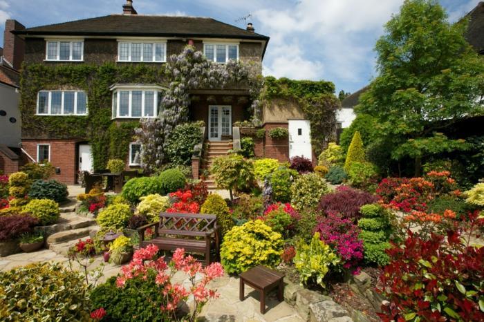 idee amenagement jardin, banc en bois, carré surélevé avec des arbustes et des fleurs, une maison envahie par le lierre, une chemin de pierres