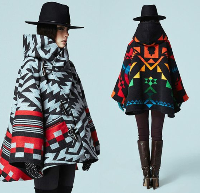 imprimé ethnique, joli manteau d'hiver style poncho, motifs bariolés, chapeau avec périphérie noire