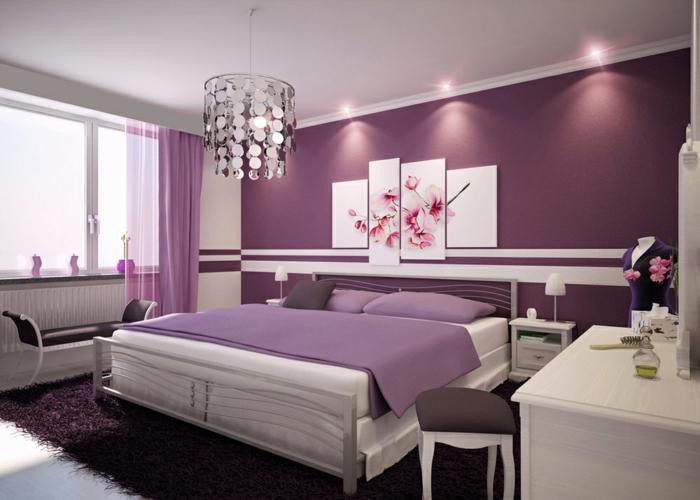 Couleur myrtille chambre adulte romantique peinture chambre adulte moderne cool idée