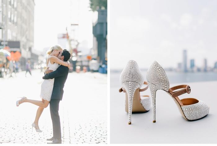 Jolie robe de mariée manche longue robe de mariée originale chaussures à talon