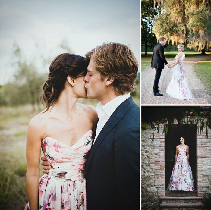 La robe de mariee rose poudré ou la robe de mariée blanche fleurie