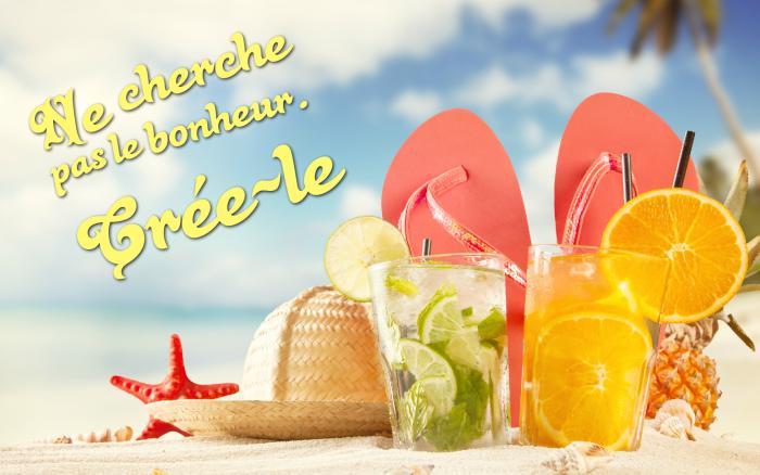 jolie phrase, photo plage et mer, tongs femme en corail, cocktail aux citrons, étoile de mer et coquillage décoratifs