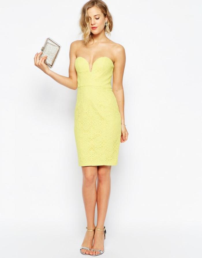 Adorable robe de cocktail jaune courte mariage robe étroite bustier top mariage chic