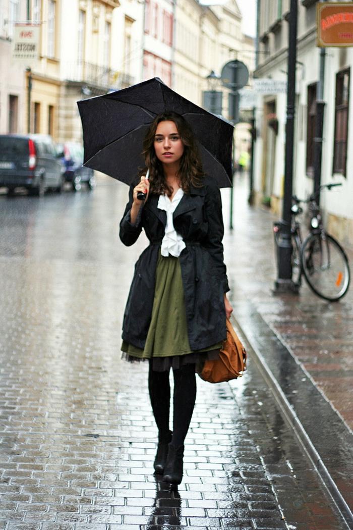 Belle tenue femme classe robe d été comment m habiller à la mode jupe vert manteau chemise blanche