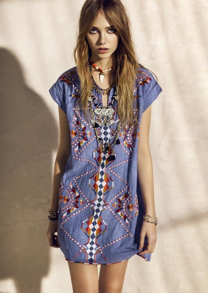 Superbe hippie femme robe seventies vetement boho