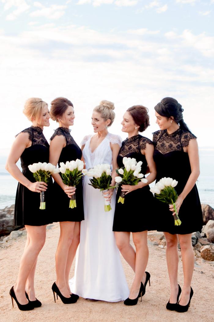 habillez votre cortège nuptial en petites robes noires à col dentelle