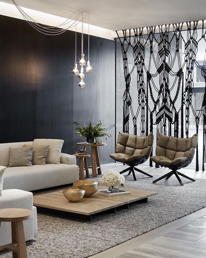 decoration originale salon spacieux sieges design rideaux contemporains