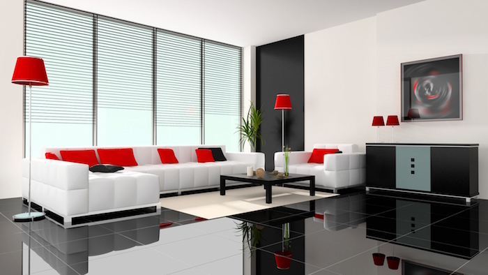 séjour moderne décoration sobre canapé luxe blanc rouge noir