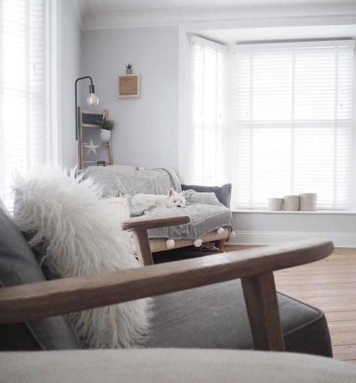 inspiration scandinave, parquet en bois clair, chaise basculante en bois, chien endormi sur canapé beige