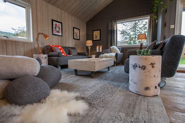 deco nordique, revêtement de mur en bois clair, canapé en tissu gris foncé, table basse en bois, lampe de chevet en bois