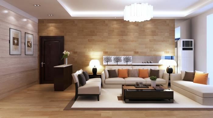 meuble séjour, lambris aspect bois, table rectangulaire, tapis rectangulaire