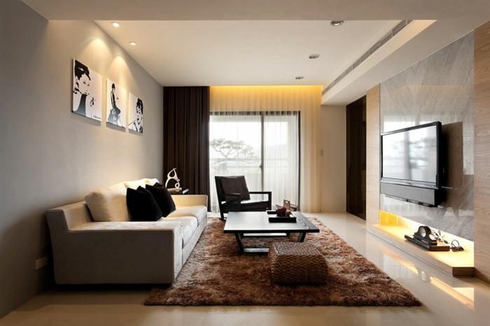 meuble sejour, table en bois, sofas gris, tapis rectangulaire marron, table et chaise