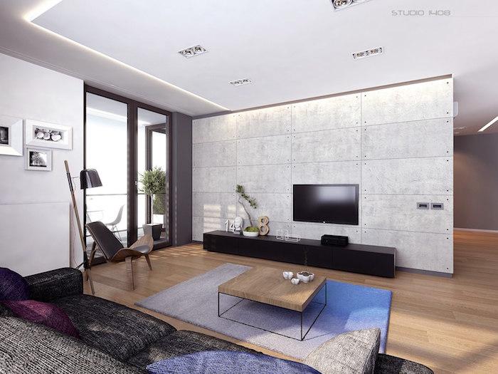 décoration industrielle séjour au design minimaliste effet beton
