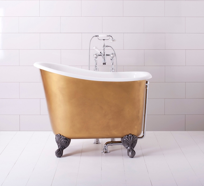 mini baignoire vintage sur pieds couleur or design baroque