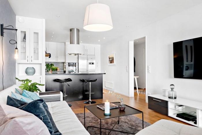 amenagement petite apaprtement cuisine ouverte sur salon, façade cuisine blanche avec un ilot central noir, parquet clair, canapé blanc, table basse noire et tapis gris, coussins colorés