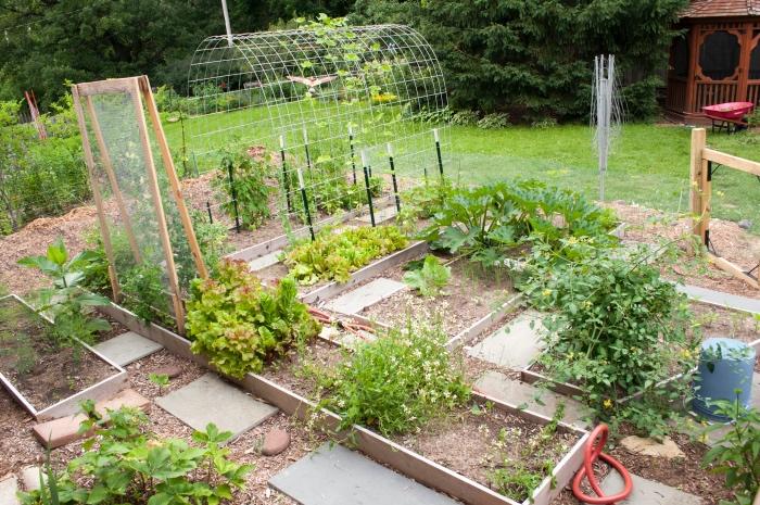 comment aménager un potager surélevé, idee jardin deco avec des carré différents pour les cultures différentes, serre de jardin