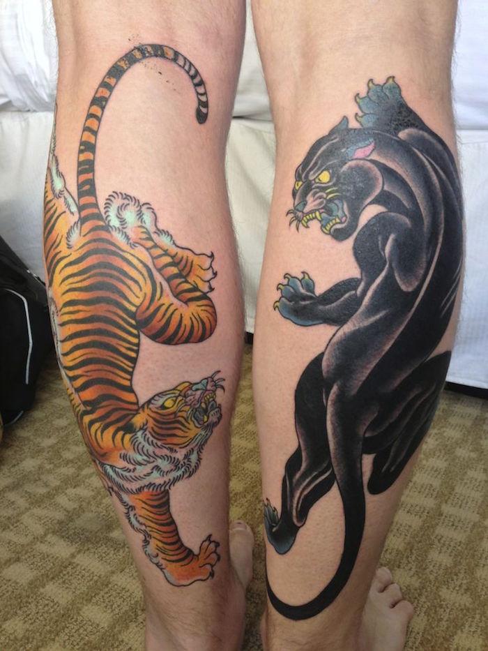 tatouage jambe homme symbole japonais tattoo tigre panthère noire