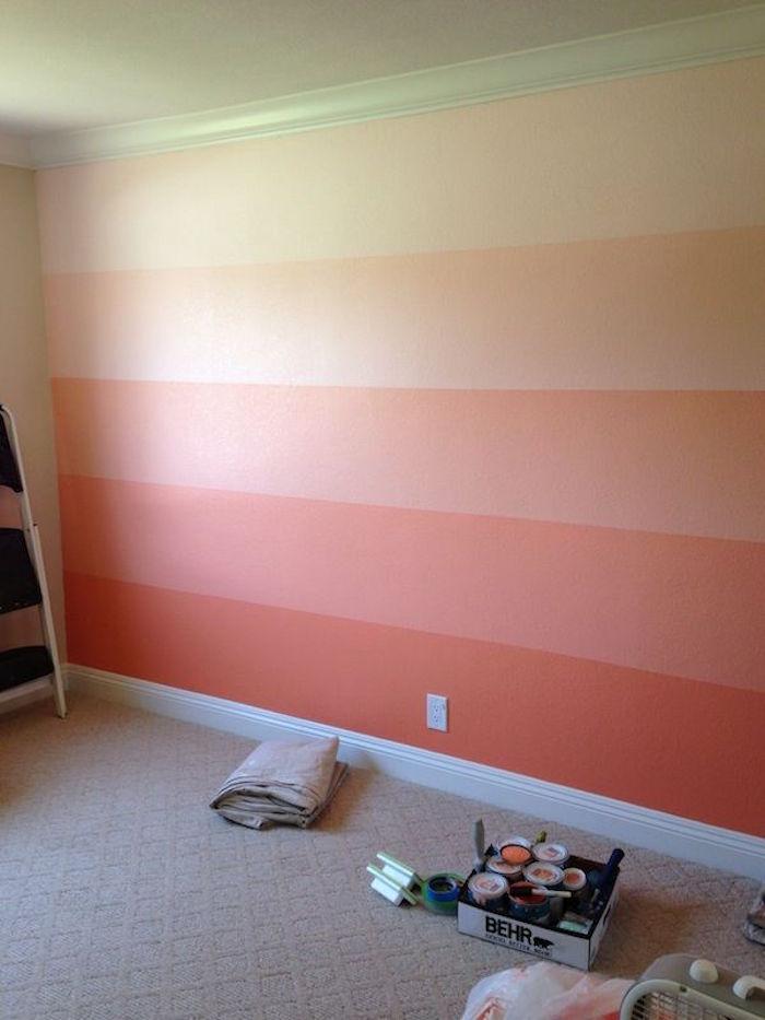 nuancier de rouge corail peinture murs en dégradé bandes