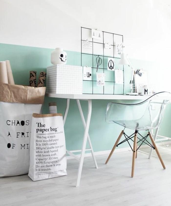 1001 conseils et id es pour une d co couleur vert d 39 eau - Couleur mur bureau maison ...
