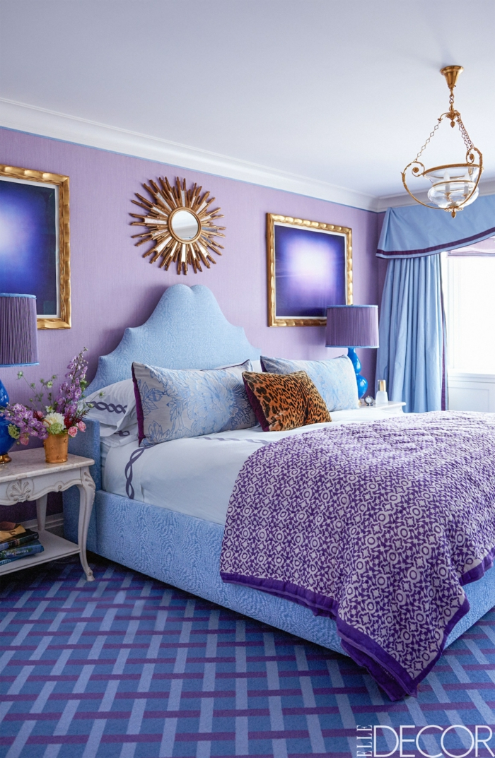 chambre bleu et mauve photos de conception de maison. Black Bedroom Furniture Sets. Home Design Ideas