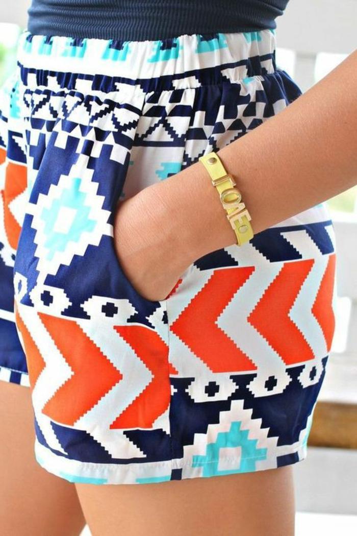 pantalon imprimé, motifs ethniques style aztèque, mini pantalon avec élastique