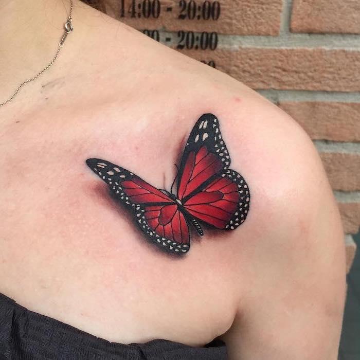 tatouage papillon 3d, idée dessin sur la peau, papillon rouge et noir, tatouage pour femme