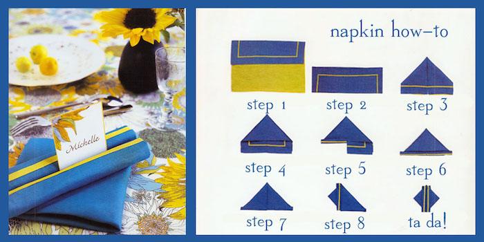 pliage de serviette en papier facile, nappe de table à motifs floraux multicolore, serviette bleu et jaune
