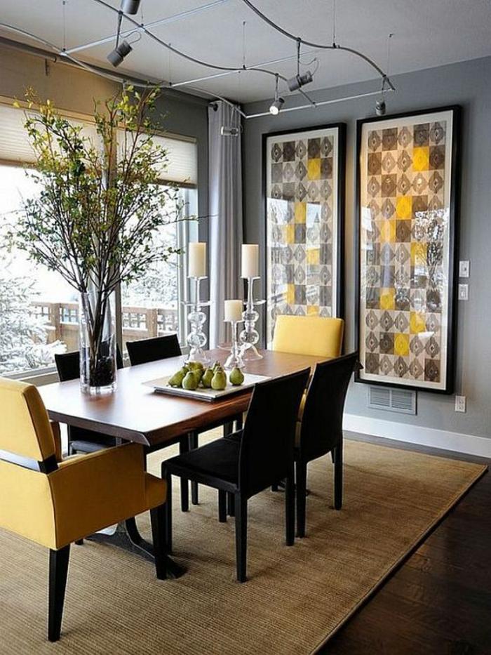 gris perle salle a manger pop art gris jaune et noir avec du blanc luminaires ondulants